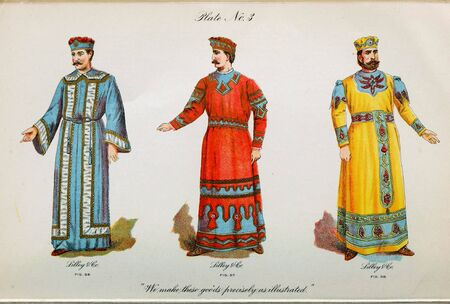 Retro illustration of costumes from different eras. 写真素材 - 124969409