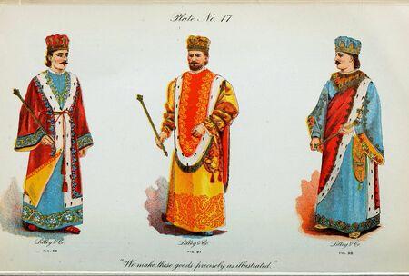 Retro illustration of costumes from different eras. 写真素材 - 124969410