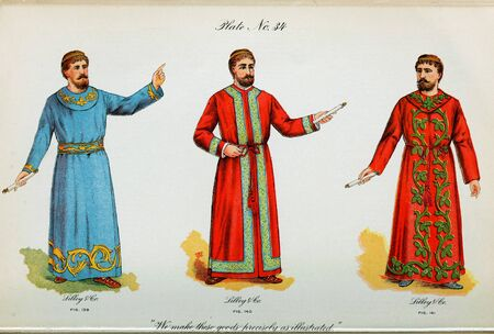 Retro illustration of costumes from different eras. 写真素材 - 124969412