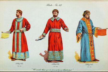 Retro illustration of costumes from different eras. 写真素材 - 124969413