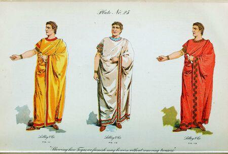 Retro illustration of costumes from different eras. 写真素材 - 124969417
