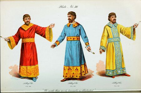 Retro illustration of costumes from different eras.