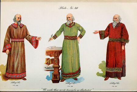 Retro illustration of costumes from different eras. 写真素材 - 124969420