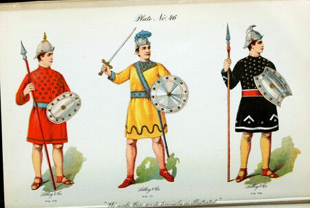 Retro illustration of costumes from different eras. 写真素材 - 124969425