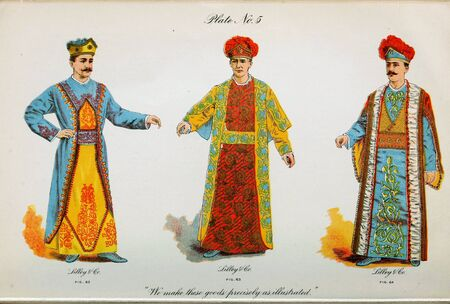 Retro illustration of costumes from different eras. 写真素材 - 124969621