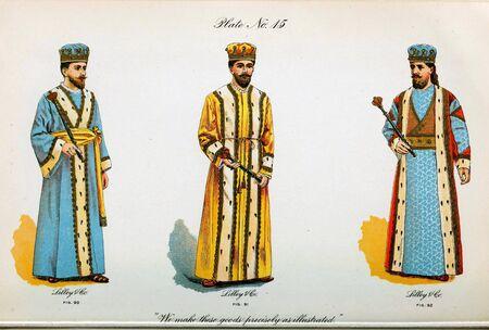 Retro illustration of costumes from different eras. 写真素材 - 124969626