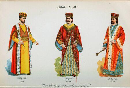 Retro illustration of costumes from different eras. 写真素材 - 124969627