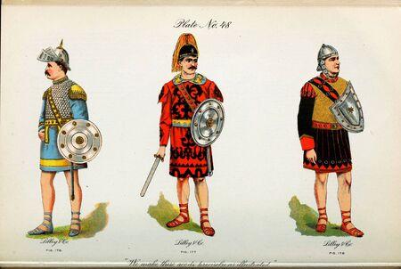 Retro illustration of costumes from different eras. 写真素材 - 124969628