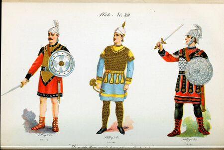 Retro illustration of costumes from different eras. 写真素材 - 124969629