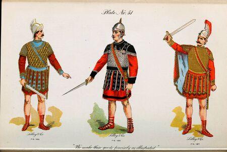 Retro illustration of costumes from different eras. 写真素材 - 124969631