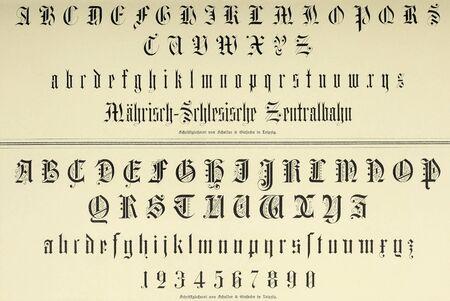 Vintage-Schrift. Vintage-Schrift. Antike historische Illustration