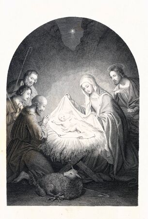 Christian illustration. Retro and old image Banco de Imagens