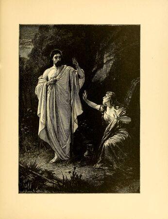 Christian illustration. Retro and old image Standard-Bild