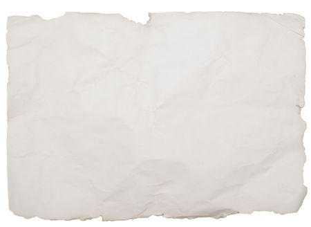 old paper with rough edges isolated on white