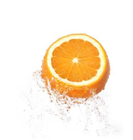orange in water splash over white background Stock Photo - 3946417