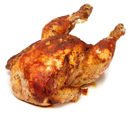 geroosterde kip op wit wordt geïsoleerd