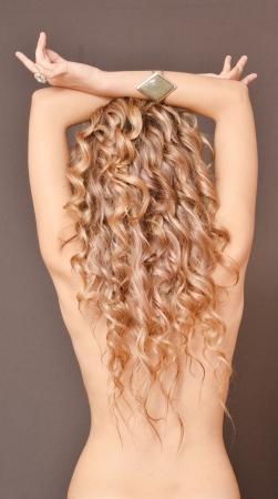 woman with long wavy hair Stockfoto