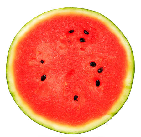 watermelon slice: half of watermelon isolated on white