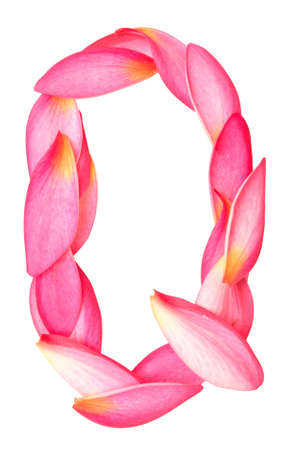 letter q made from beauty flower petals on white Stock Photo - 18015053