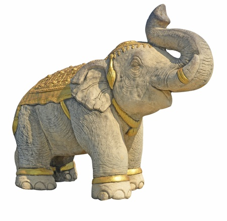stone elephant isolated on white Stock Photo - 18511231