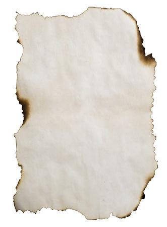 verbrand papier geïsoleerd op wit Stockfoto