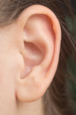 close up of woman ear