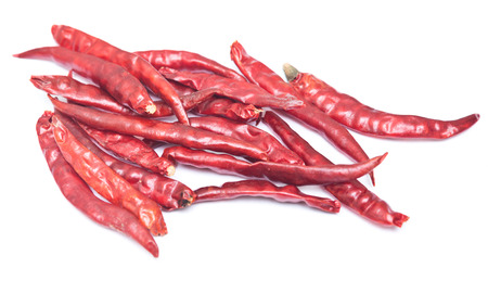 red hot chili pepper on white background 写真素材