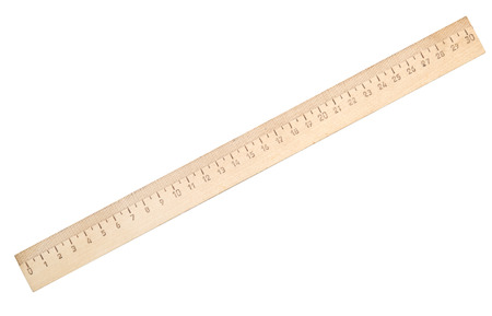 wooden ruler isolated on white background