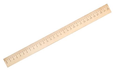 houten liniaal op een witte achtergrond Stockfoto