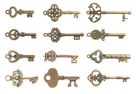 Viejos claves aislado en el fondo blanco Foto de archivo - 44756031