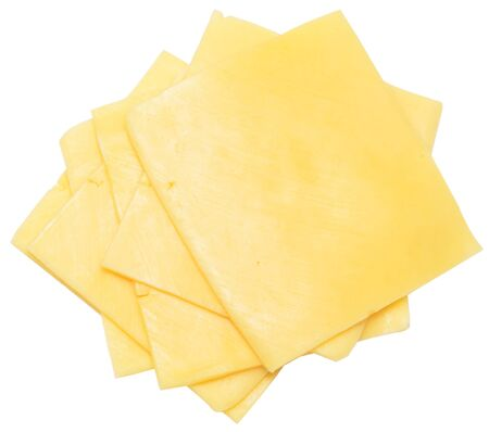 cheese slices isolated on white Stock Photo