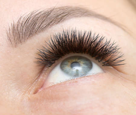 close up shot of woman eye after eye lush extension Stock Photo