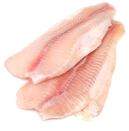 raw fish fillet isolated on white background