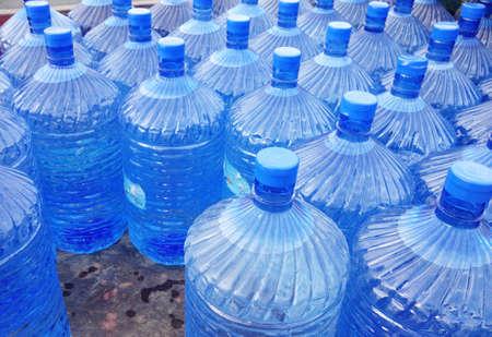 close up of big water bottles Foto de archivo