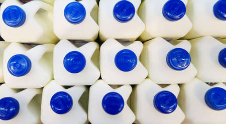 Top view of bottles with milk