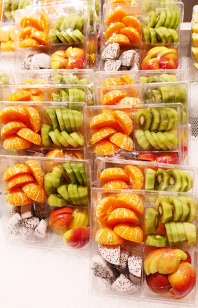 Sliced packed fruits in a shop
