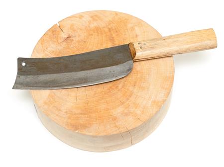 Asian knife on wooden board on white background Foto de archivo - 119762568