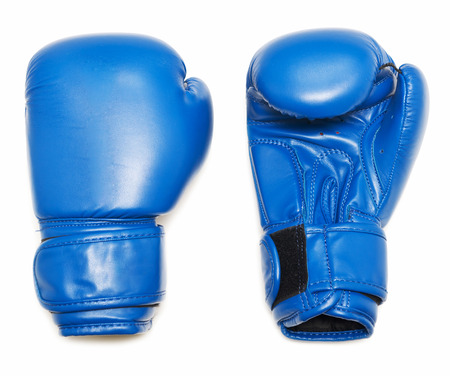 Blue boxing gloves isolated on white background Foto de archivo - 119762573