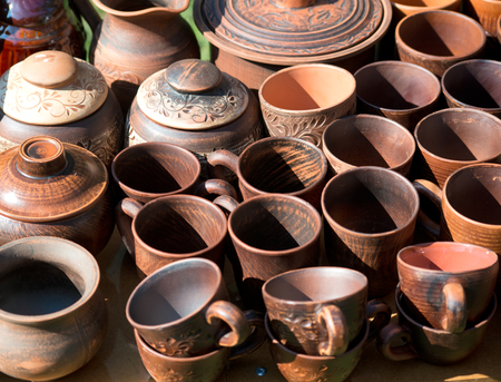 Handmade ceramic pottery in a market