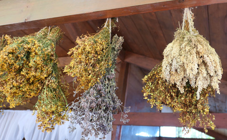 Hanging bunches of herbs and flowers Archivio Fotografico - 129263842