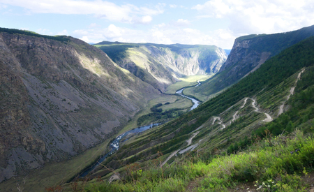 Pass Katu-Yaryk and Valley of Chulyshman river. Altai Republic, Russia Stok Fotoğraf