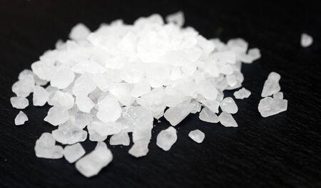 Sea salt on black