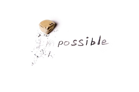 Changing the word impossible to possible  Stock Photo