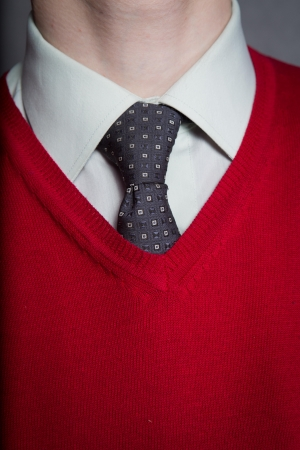 Man wearing white shirt with red sweater and necktie photo