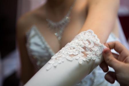 Bride wearing wedding ring