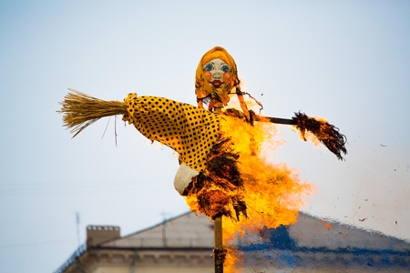Traditional off winter in Russia, burning effigies of carnival