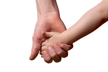 adult offspring: children and man hands isolated on white Stock Photo