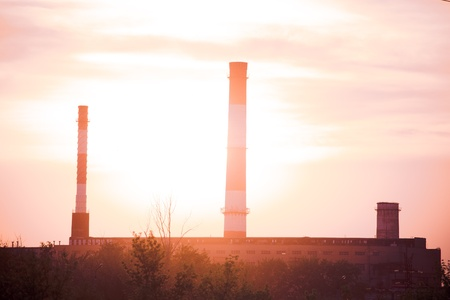 industrial landscape at sunset photo