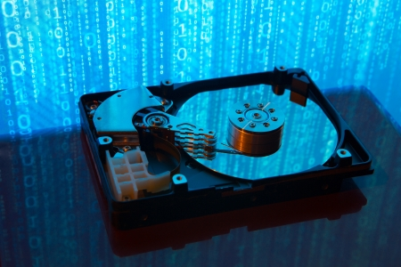 optical disk: close up of hard disk with abstract reflection Stock Photo