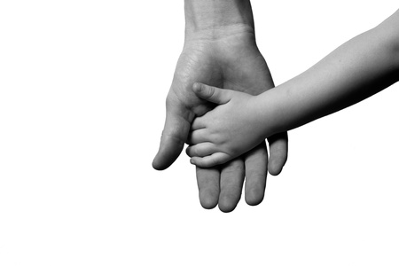 children and man hands isolated on white black and white